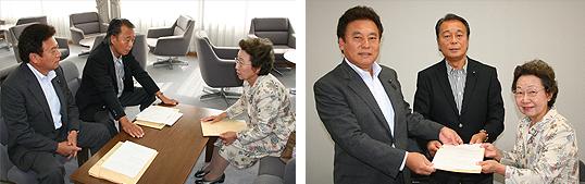 左:持田文男・組織本部長、中央:竹内英明・幹事長、右:冨岡正子・女性局長代理